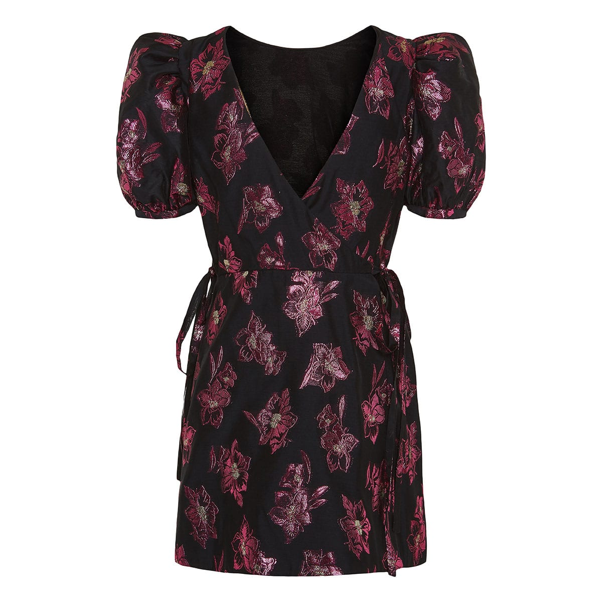 Floral jacquard wrap mini dress