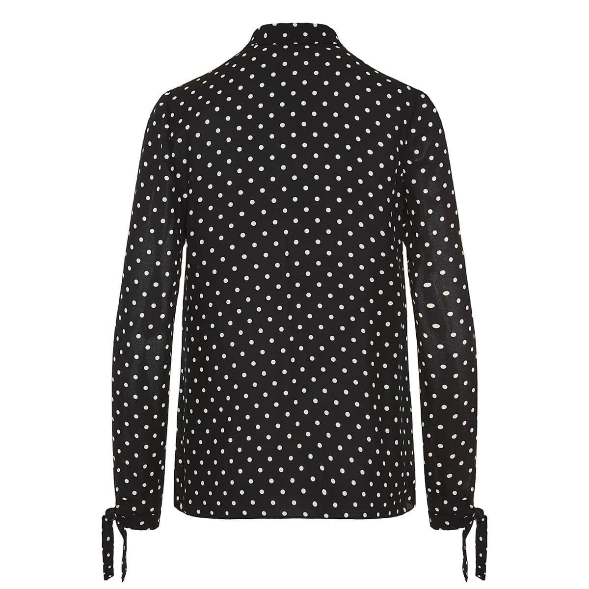 Bow-tie polka-dot blouse