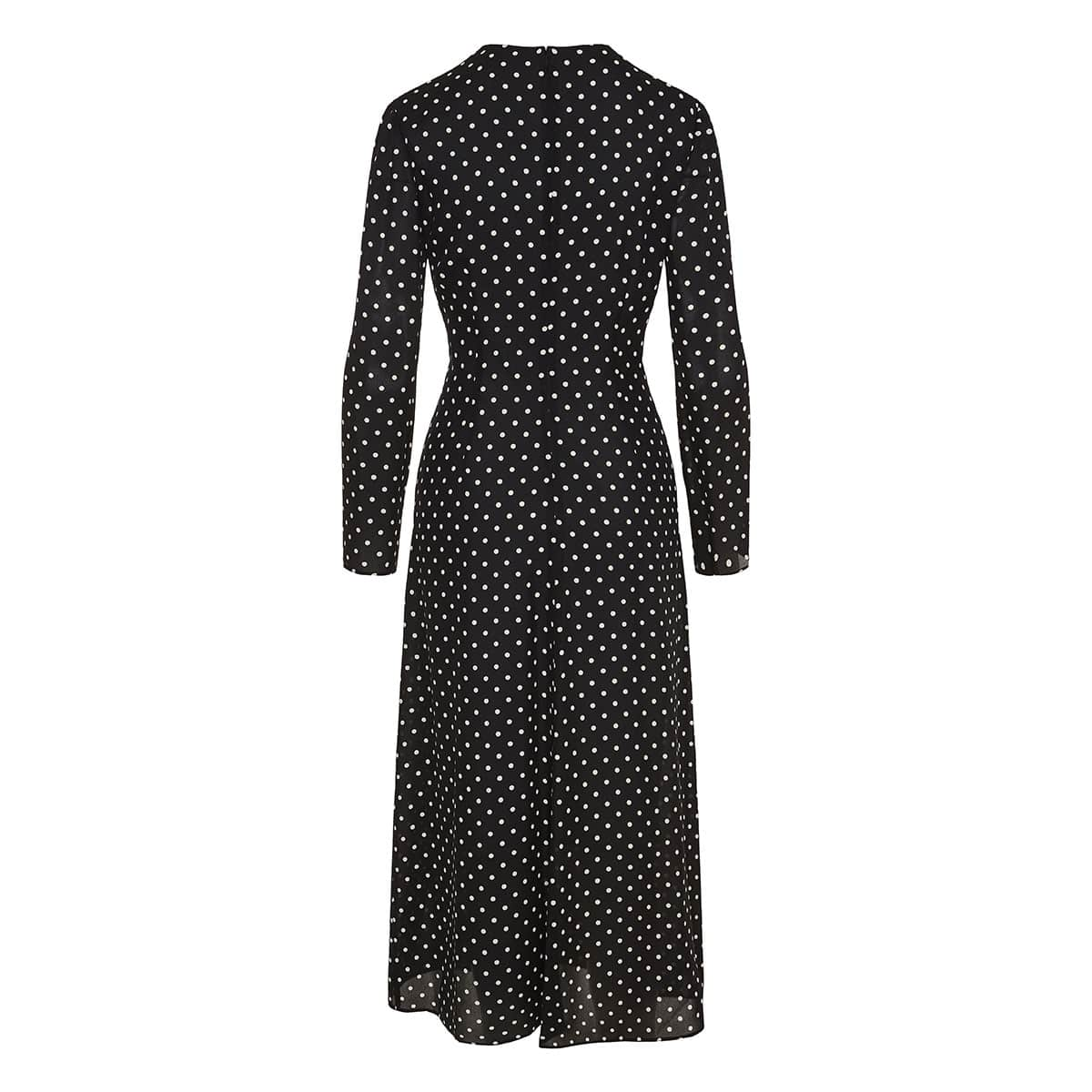 Polka-dot knotted midi dress