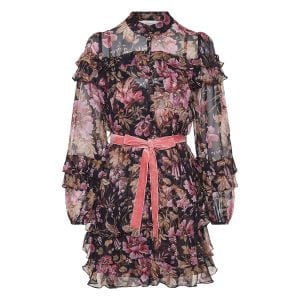Lucky frilled floral mini dress