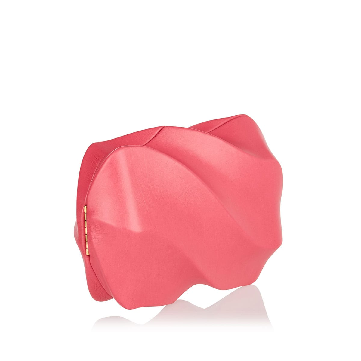 Whirl spiral leather clutch