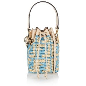 Mon Tresor FF mini raffia bucket bag