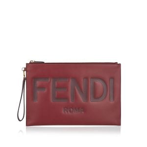 Logo large leather pouch