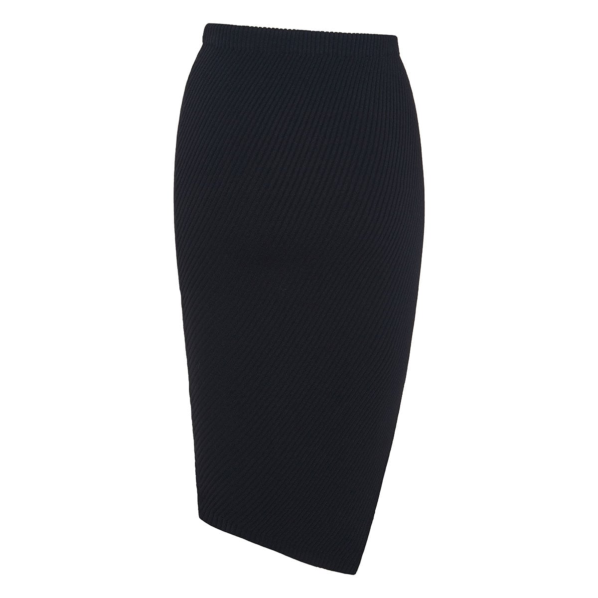 Asymmetric ribbed-knit pencil skirt