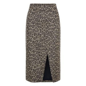 Leopard wool wrap skirt