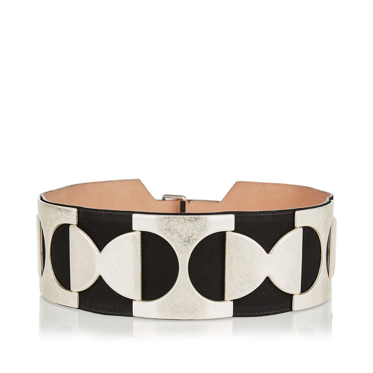 Brass-embellished wide suede belt