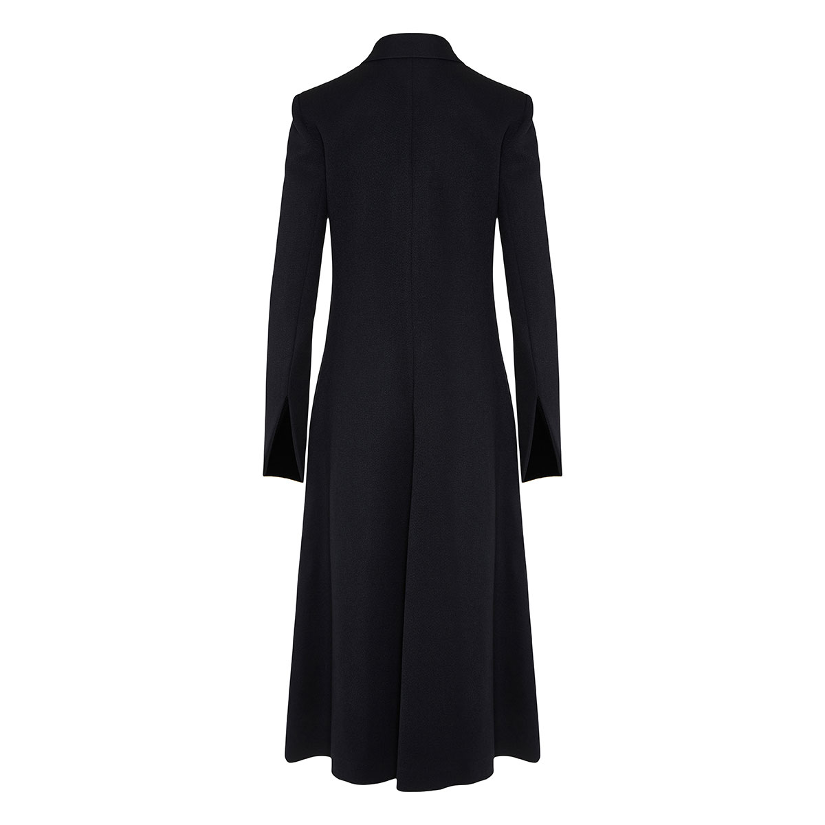 Double-breasted flared wool coat