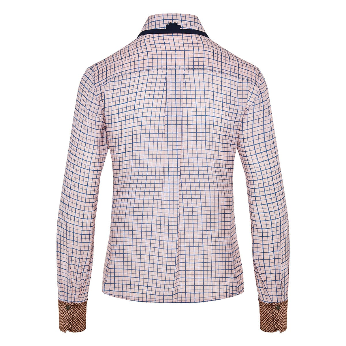 Embroidered-collar checked silk shirt