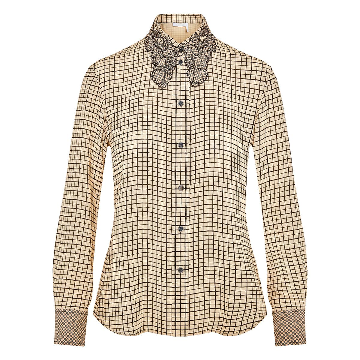 Embroidered-collar checked shirt