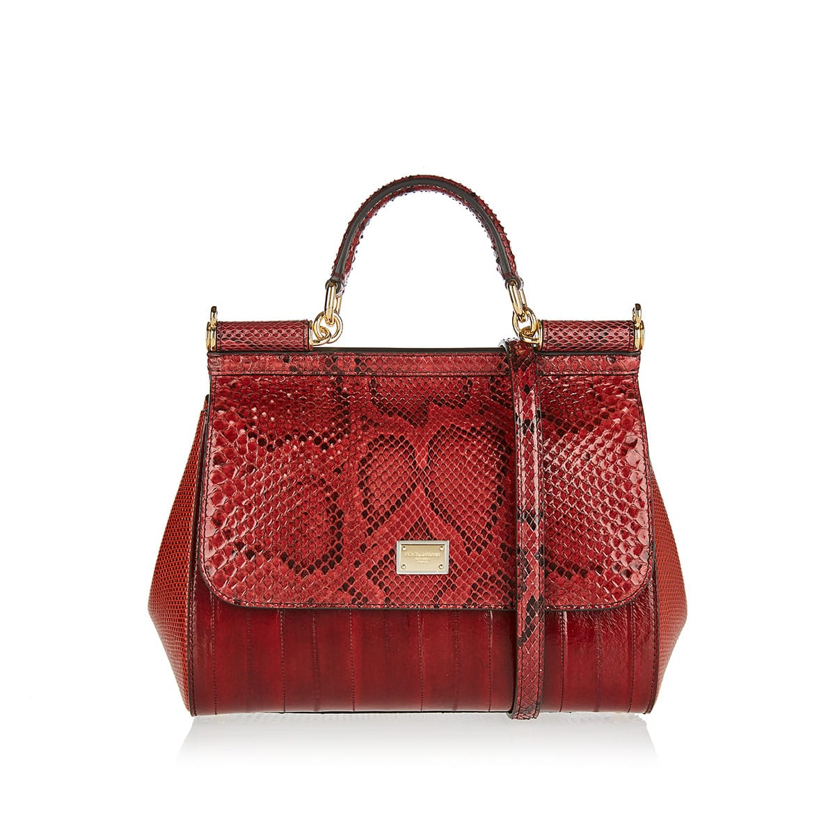 Sicily Medium python and leather bag