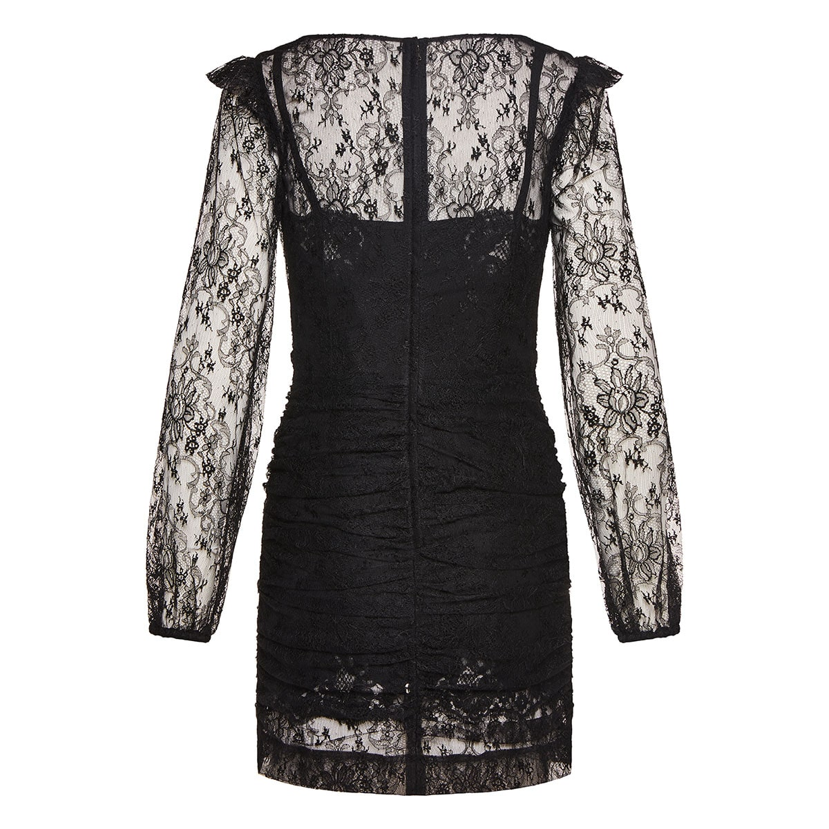 Ruched lace mini dress