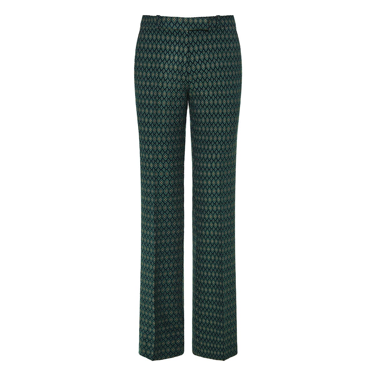Geometric patterned jacquard trousers