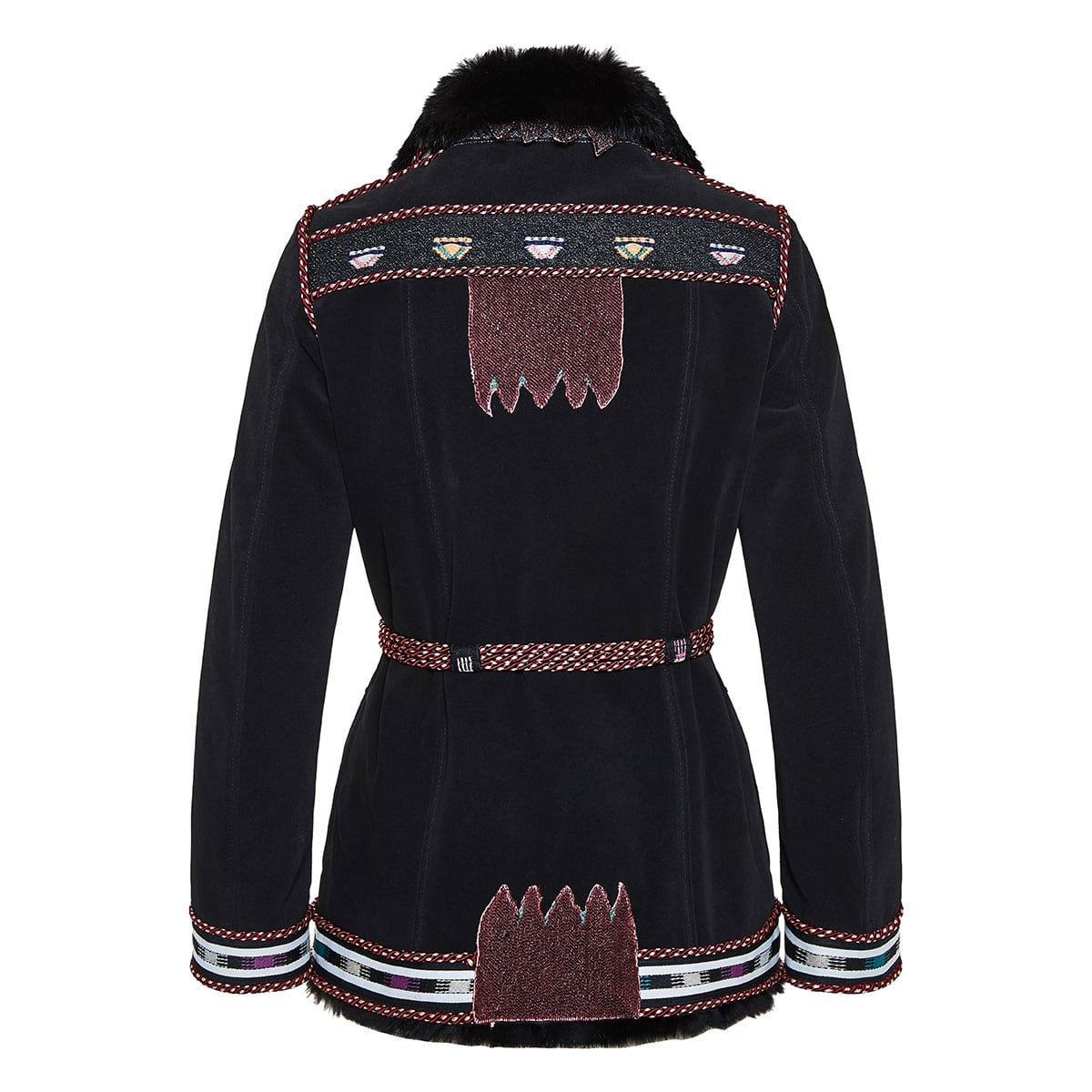 Fur-trimmed embroidered leather jacket