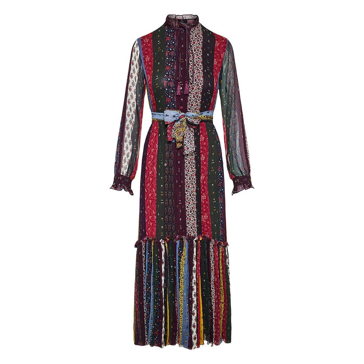 Patchwork-printed long tiered dress