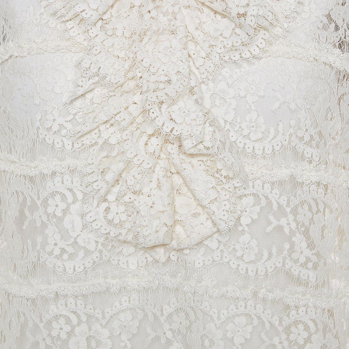 Ruffled sheer lace blouse