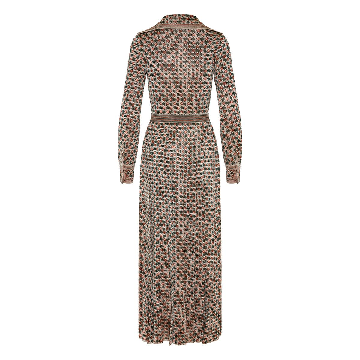 Square G patterned long lamé dress