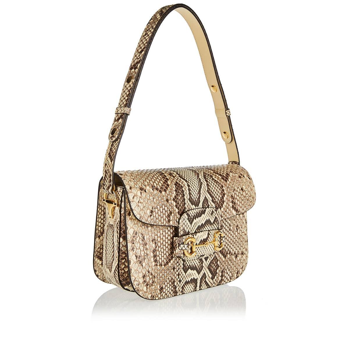 Horsebit 1955 python shoulder bag