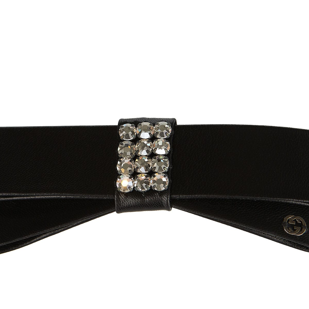 Leather hair clip with crystals