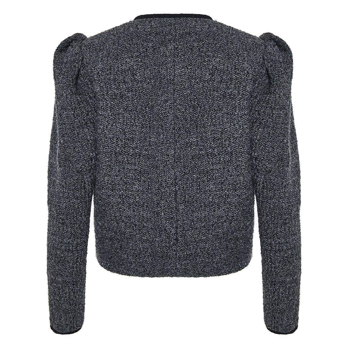 Zingy puff-sleeved tweed jacket