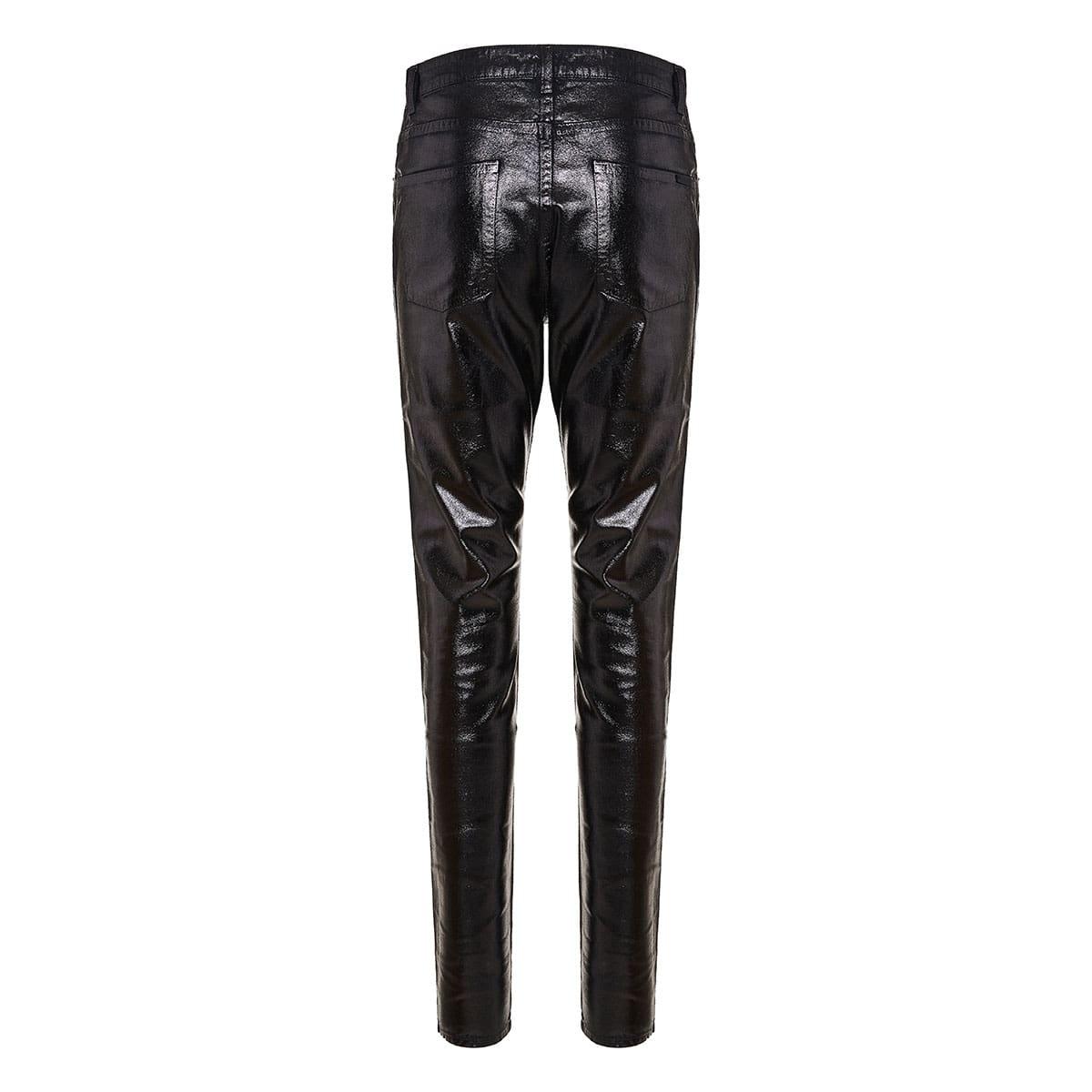 Vinyl-effect skinny jeans