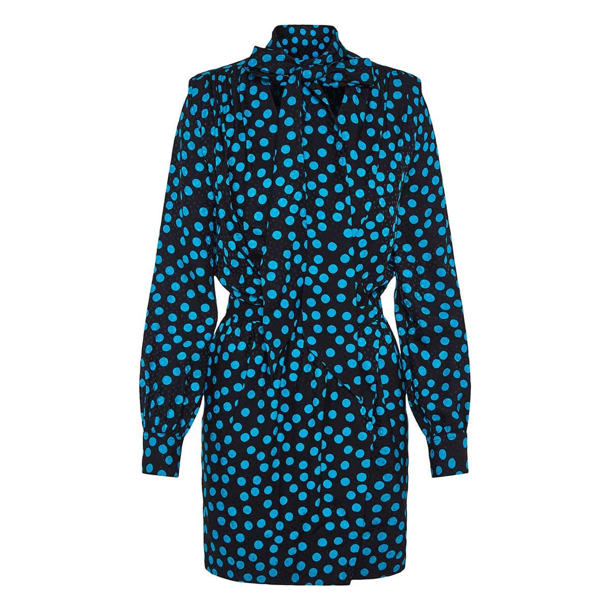 Bow-tie polka-dot wrap mini dress