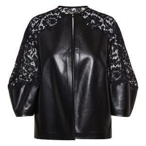 Lace-paneled leather jacket