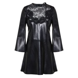 Lace-paneled flared leather dress