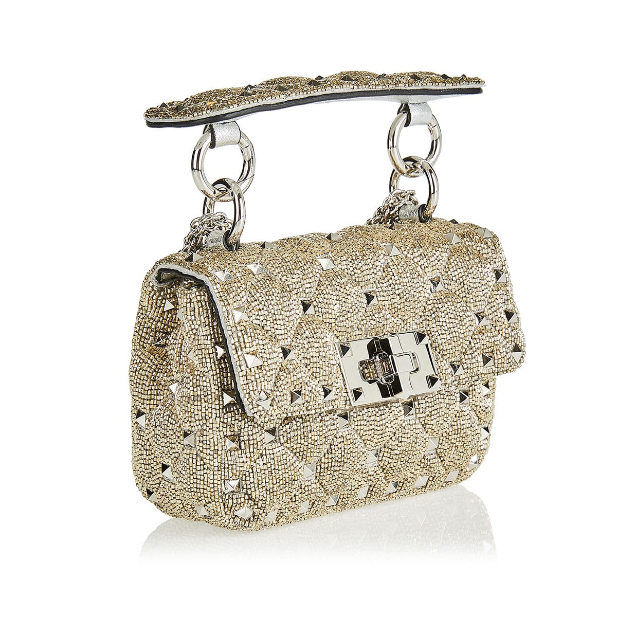 Rockstud Spike bead-embellished micro bag