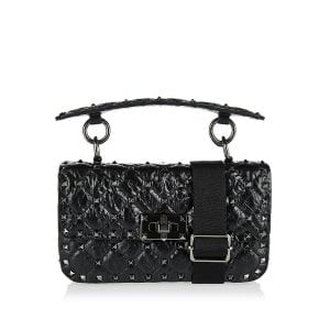 Small Rockstud Spike crackled crossbody bag