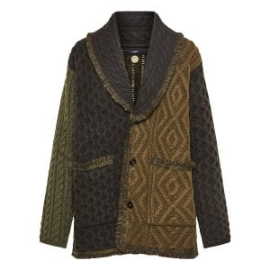 Woodland oversized patchwork-knit cardigan