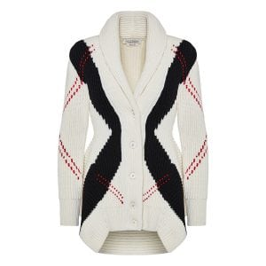 Argyle ribbed peplum cardigan