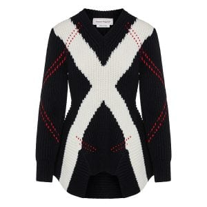 Argyle ribbed wool sweater