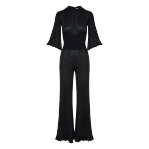 Plisse-knitted flared jumpsuit