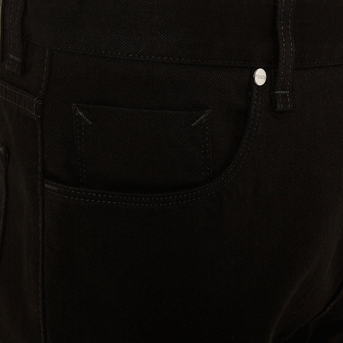 FF-detailed denim trousers