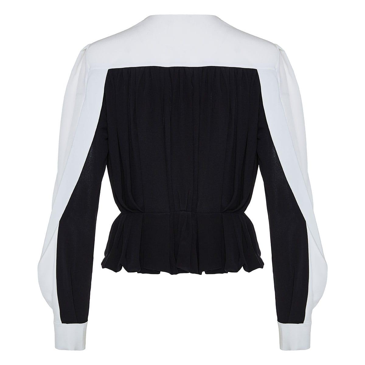 Two-tone pleated peplum blouse