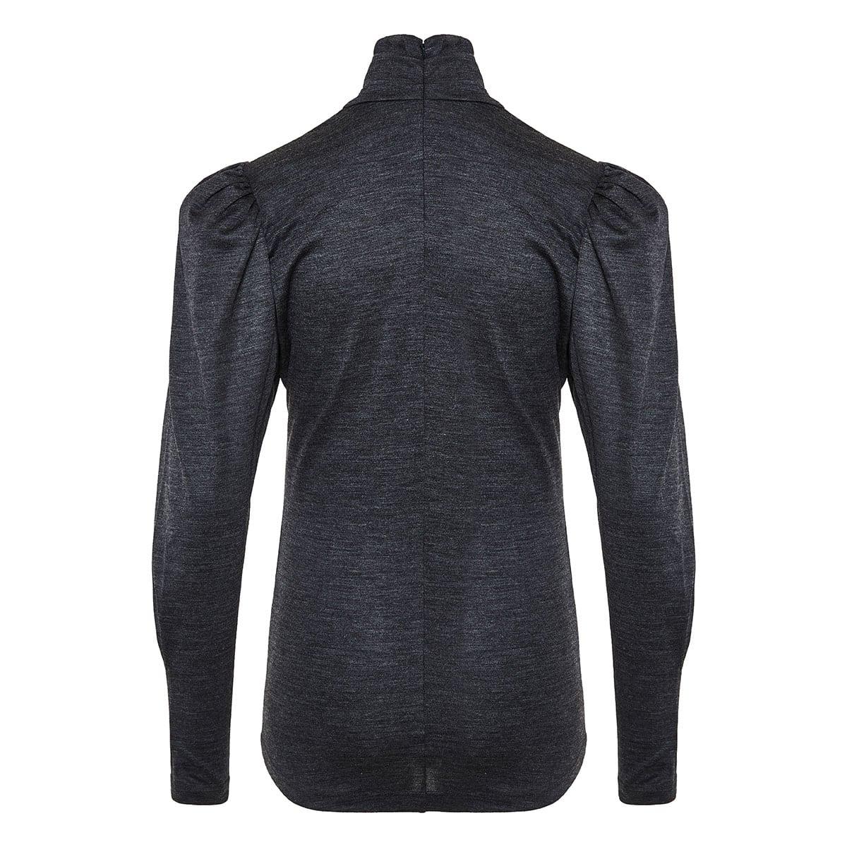 Gavina puff-shoulder turtleneck blouse