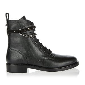Rockstud chain-embellished combat boots