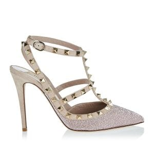 Rockstud bead-embellished suede pumps