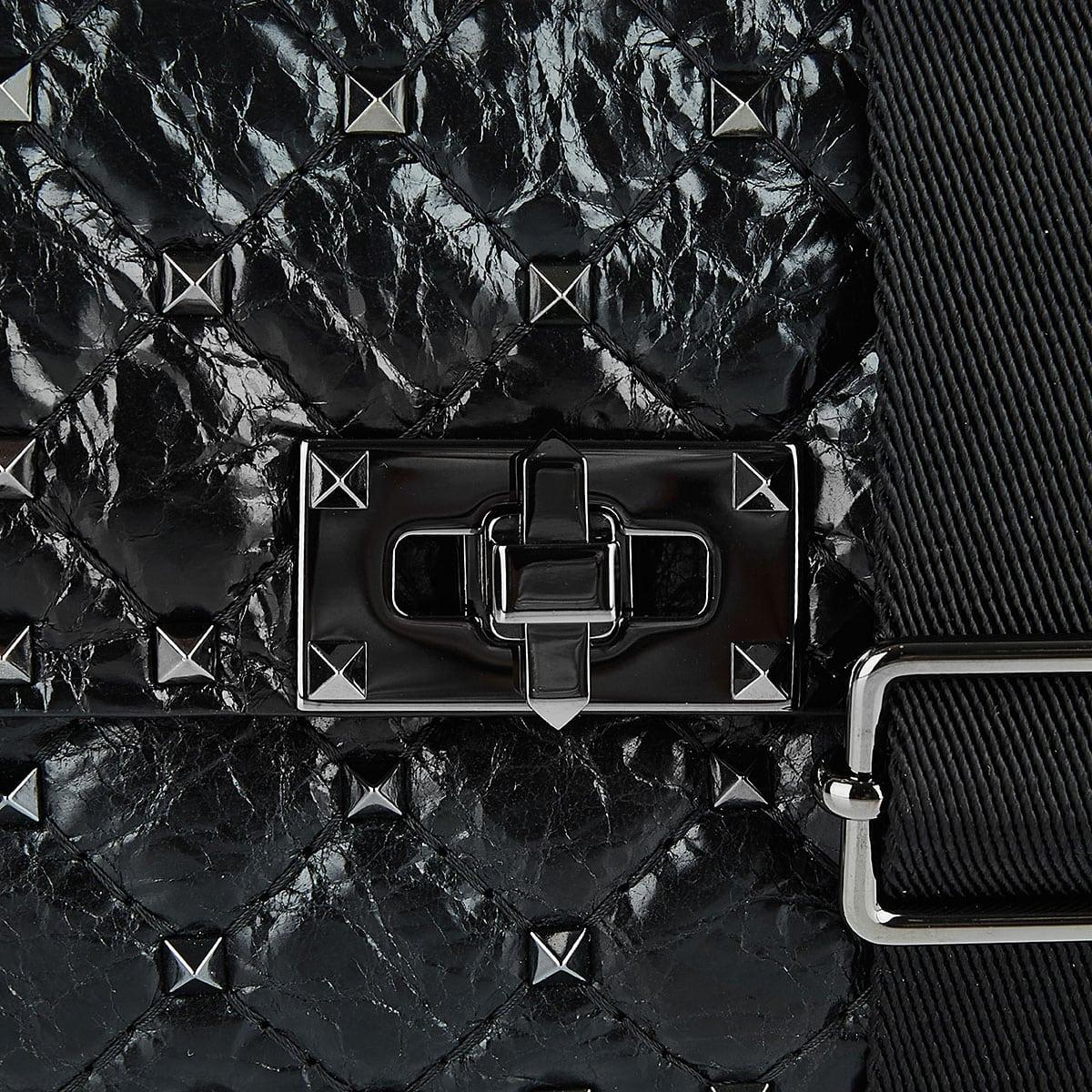 Small Rockstud Spike crackled crossbody bag