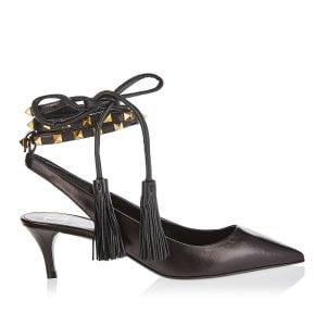 Rockstud lace-up slingback pumps