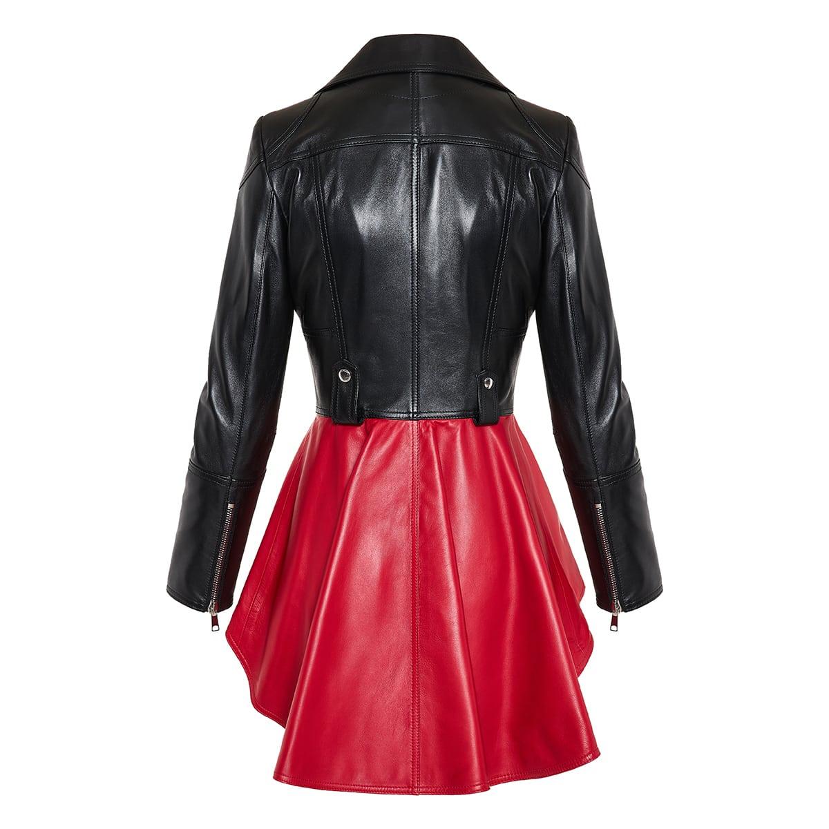 Two-tone peplum leather biker jacket