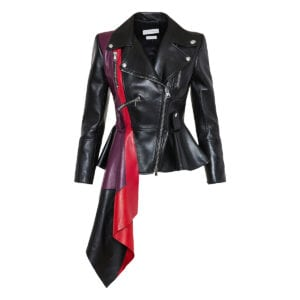 Draped peplum leather biker jacket