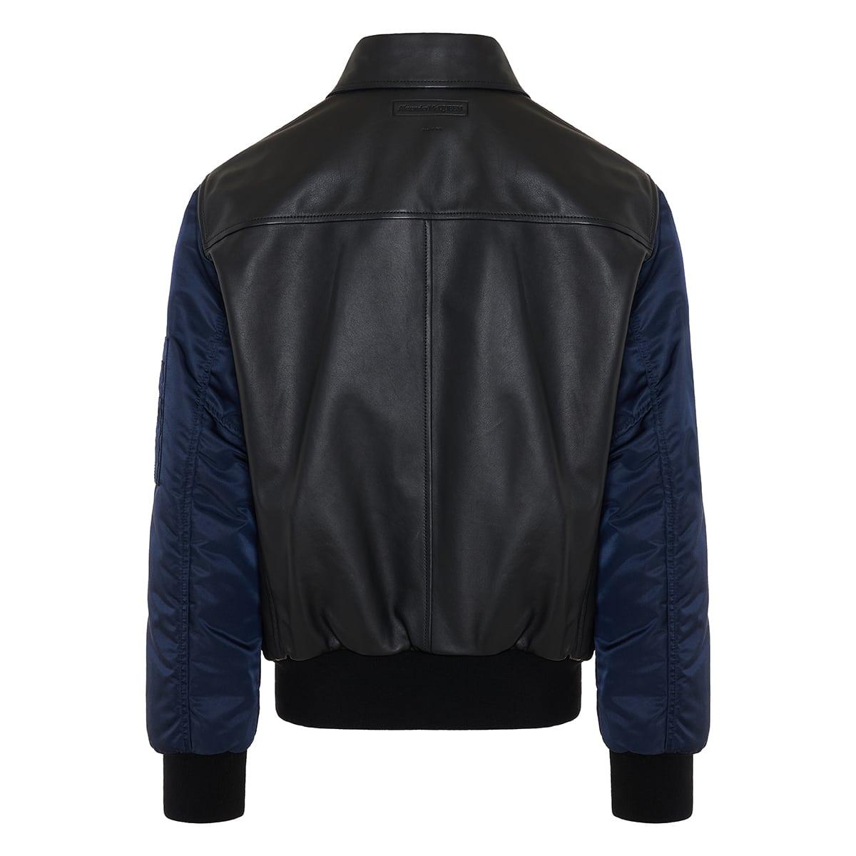 Leather and nylon bomber jacket