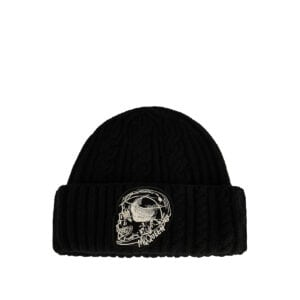 Skull-patch cable-knit beanie