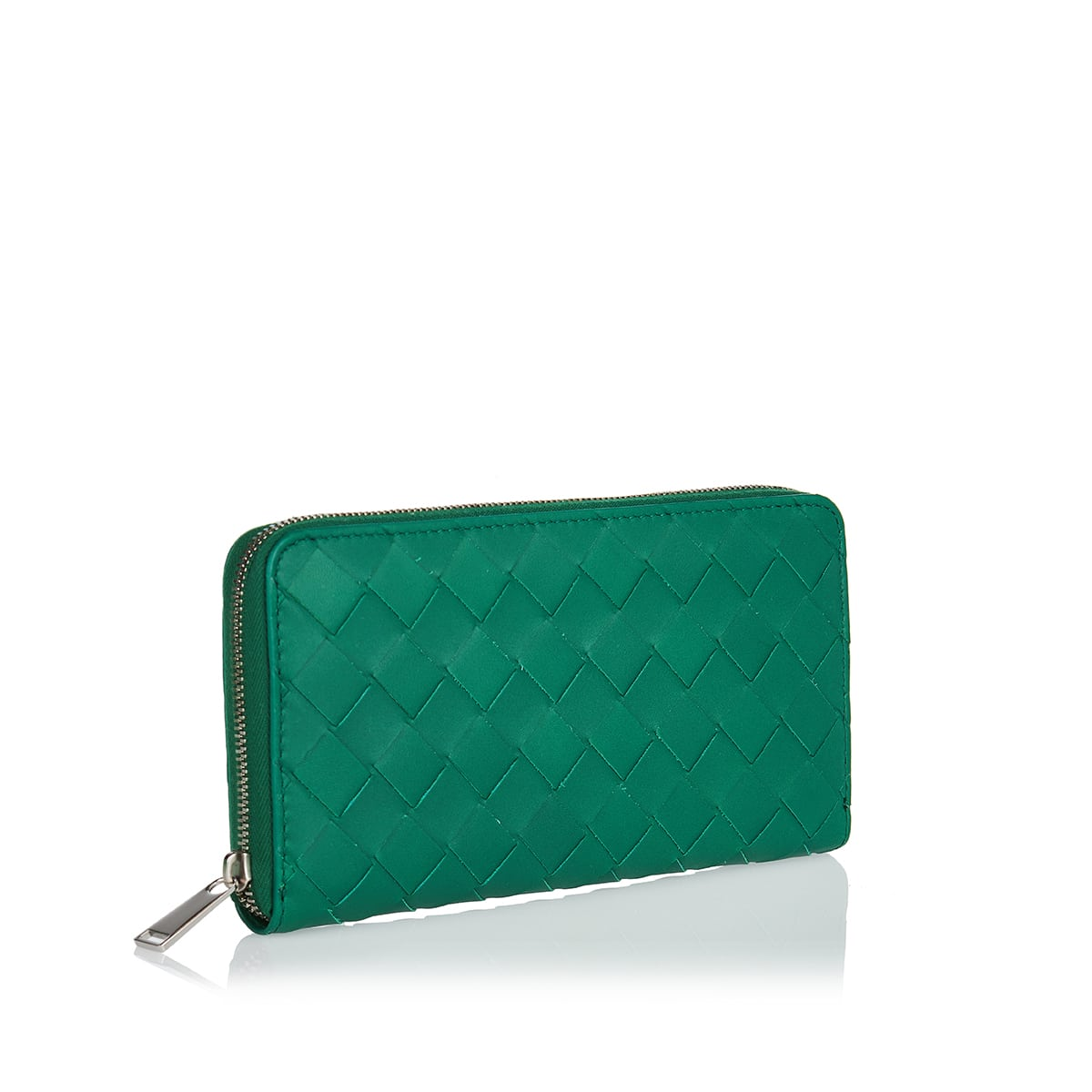 Zip-around Intrecciato leather wallet