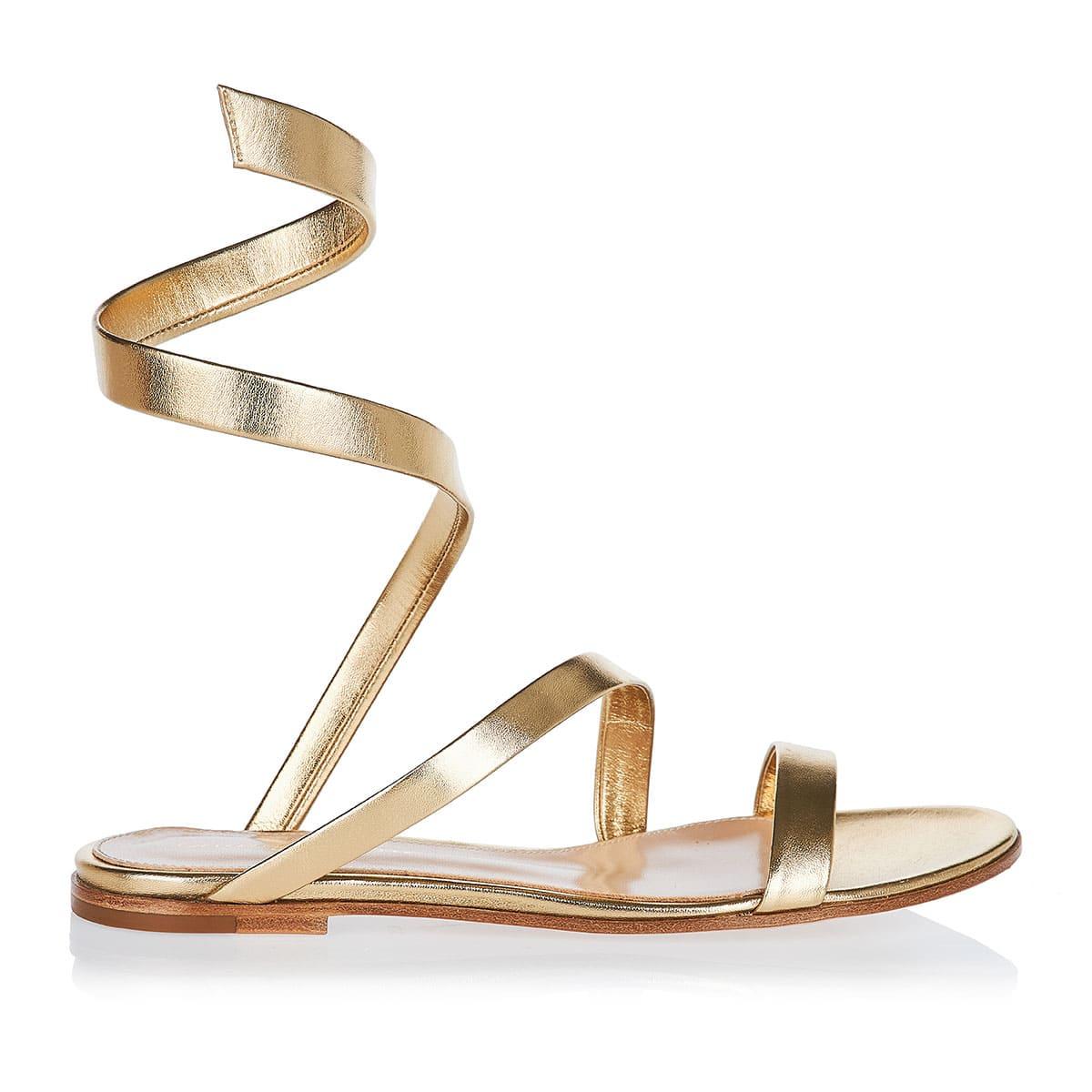 Opera metallic leather flat sandals