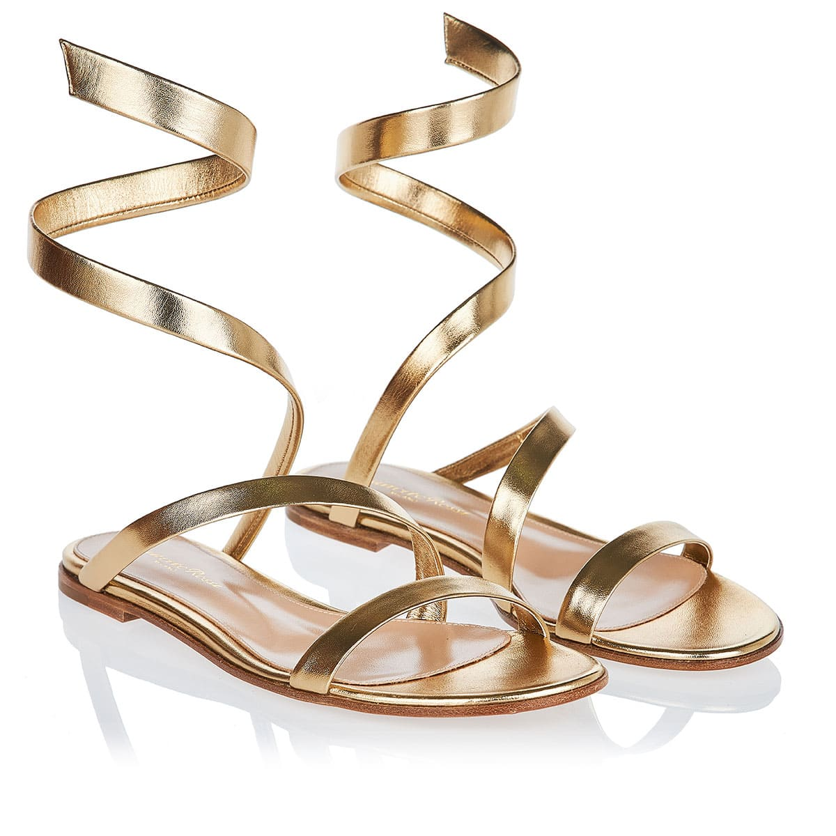 Opera metallic leather flat sandals