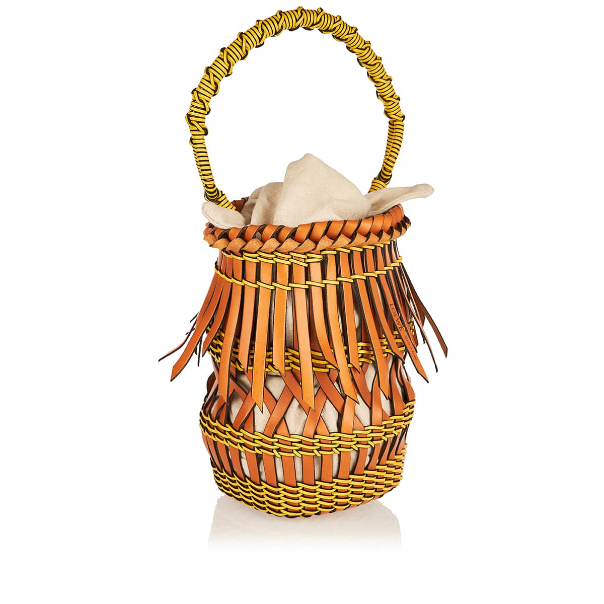 Fringes leather-woven bucket bag