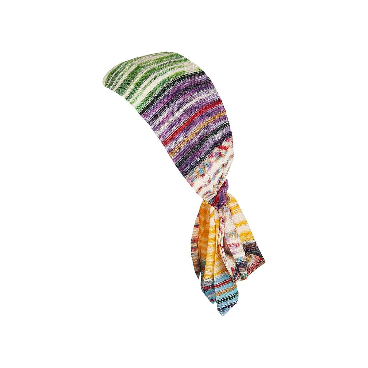 Striped-knit headband with ties