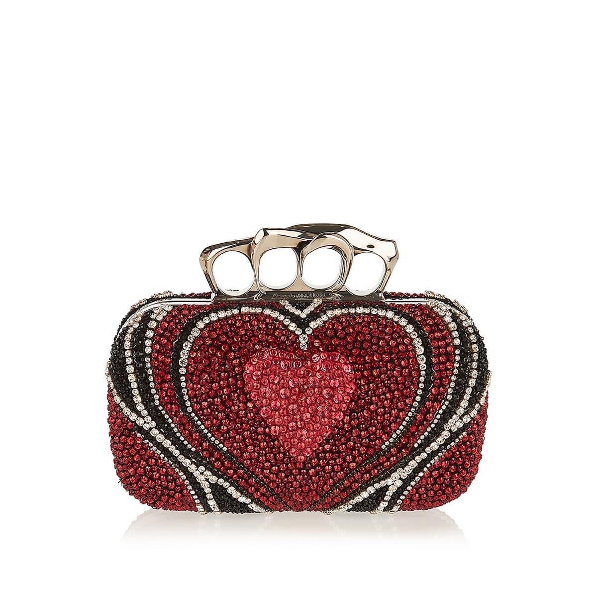 Four-Ring crystal-embellished clutch
